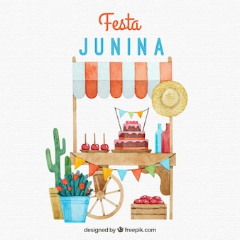 Festa junina background with watercolor elements