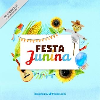 Festa junina background with watercolor harvest elements