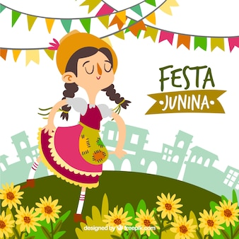 Festa junina background with woman and flowers