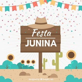 Festa junina background with wooden sign