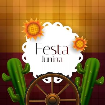 Festa junina banner decorated cactus and sunflowers
