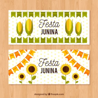 Festa junina banner with corn and sunflowers