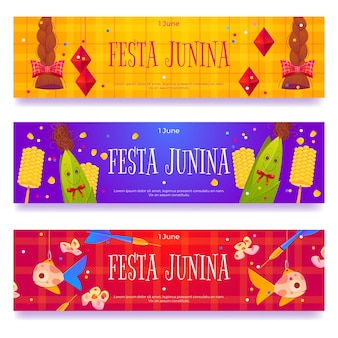 Festa junina banners with braids fish and corn