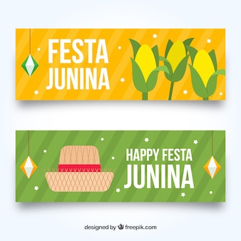 Festa junina banners with corn