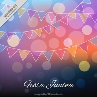 Festa junina боке фон с гирляндами