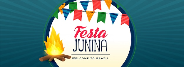 Festa junina bonfire festival banner