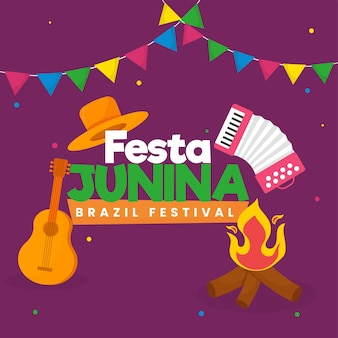 Festa junina brazil festival celebration with bonfire, musical instrument, hat and bunting flags on purple background.