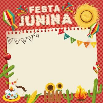 Феста жунина - бразильский июньский фестиваль. ретро-плакат фольклорного отдыха