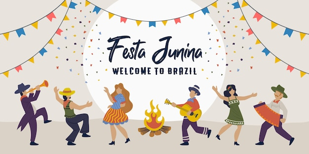 Festa junina brazilian traditional celebration party with people dancing