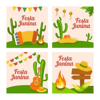 Festa junina card collection template in flat design