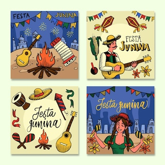 Festa junina card collection template