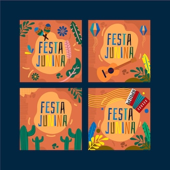 Festa junina card set template concept