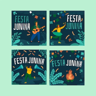 Festa junina card set template design