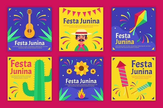 Festa junina card template design