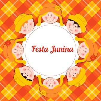 Festa junina card with kids and plaid  background.