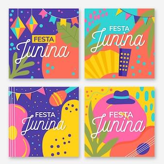 Плоский дизайн коллекции festa junina card