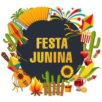 Festa junina cartoon background with decorative frame consisting of traditional celebration