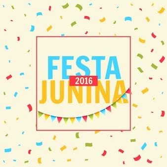 Festa junina celebration background with confetti