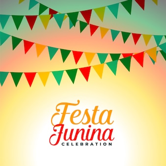 Festa junina celebration flags decoration background design