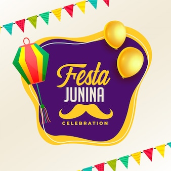 Festa junina celebration poster with lamps and balloon