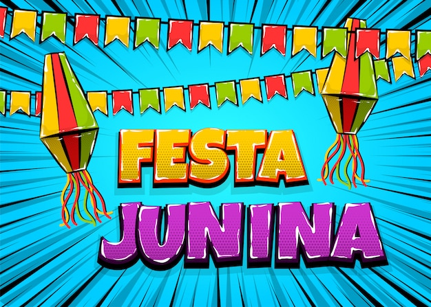 Festa junina comic text pop art carnival