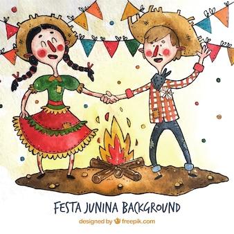 Festa junina couple party of watercolor dancing