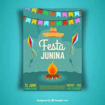 Festa junina cover template with bonfire