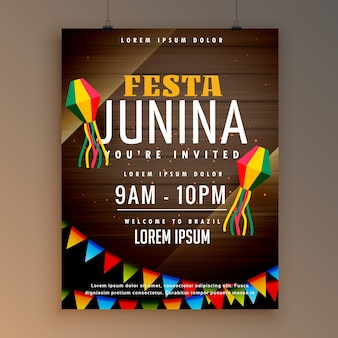 Festa junina dark wooden background poster