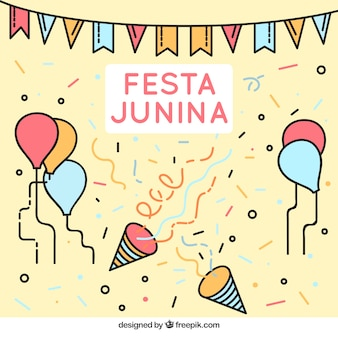 Festa junina decoration background in linear style
