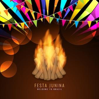 Festa junina design with bonfire