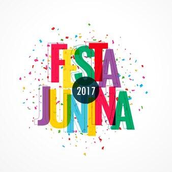 Festa junina design with colorful letters