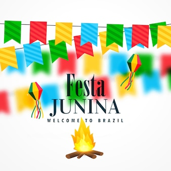 Festa junina design with garlands and bonfire