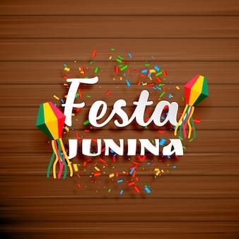 Festa junina design on wooden background