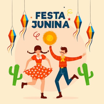 Festa junina event hand drawn
