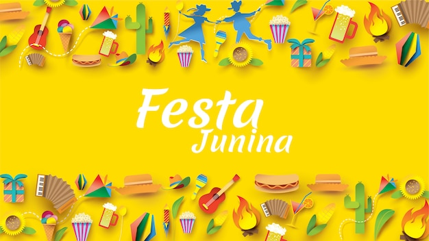 Festa junina festival design on paper art and flat style with party flags and paper lantern.