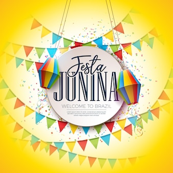 Festa junina festival design with party flags and paper lantern