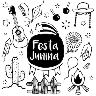 Festa junina festival hand drawn doodle style