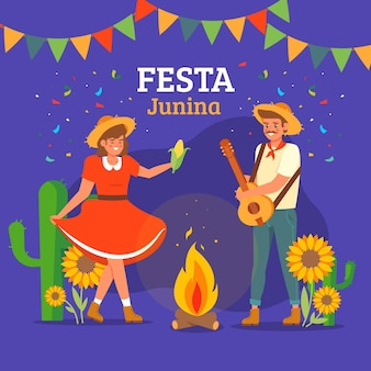 Festa junina flat design background