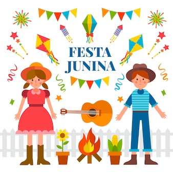 Festa junina in flat design