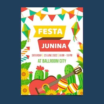 Шаблон флаера festa junina в плоском дизайне