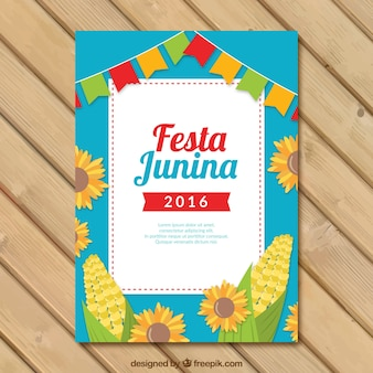 Festa junina flyer template with sunflowers and corn