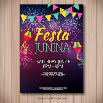 Festa junina flyer with colorful fireworks