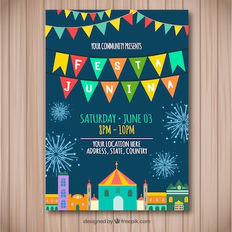 Festa junina flyer with colorful town