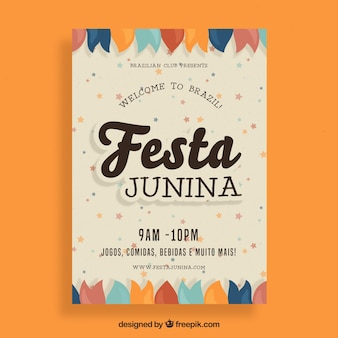 Festa junina flyer with flat ornaments