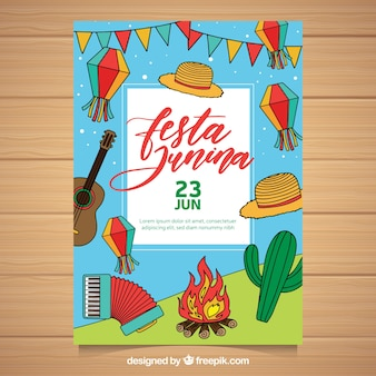 Festa junina flyer with traditional elements