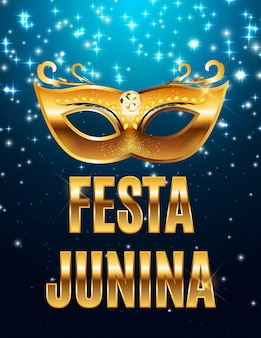 Festa junina holiday background. traditional brazil june festival party. midsummer holiday.   illustration with ribbon and flags