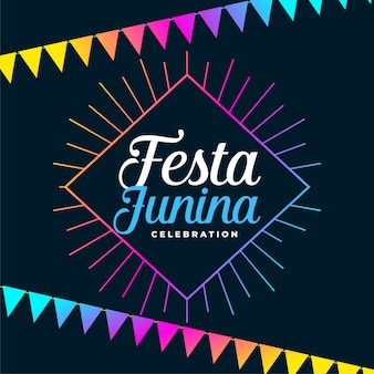 Festa junina holiday background with colorful garlands decoration