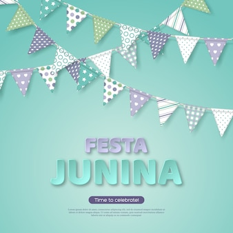 Festa junina holiday design. paper cut style letters with bunting flag on light turquoise background. template for brazilian or latin festival, party