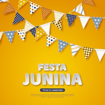 Festa junina holiday design. paper cut style letters with bunting flag on yellow background. template for brazilian or latin festival, party, vector illustration.