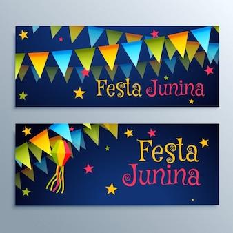Festa junina holiday festival banners set